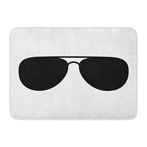 Rongpona Fußmatten Badteppiche Outdoor/Indoor Fußmatte Brille Aviator Sonnenbrille Shades Protective Eyewear Flat für Apps und Websites Schwarzer Badezimmerdekor Teppich Badematte