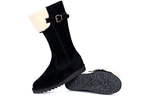 OZZEG Fourrure neige bottes en cuir Slip de la femme on hiver chaussures en peau de mouton laine Noir