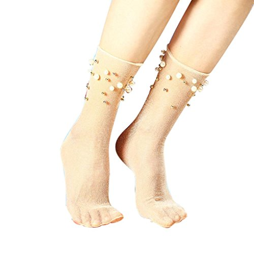 Minshao Frauen Rüschen Fischnetz Knöchel hohe Socken Mesh Lace Fisch Net kurze Socken (Khaki) (Knöchel Sneaker Lace)
