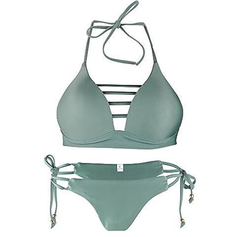 Bikini 2 Pieces Bandage Bresilien Push-up Rembourré Maillot de Bain Femme Sablonneux Plage Soutien Gorge