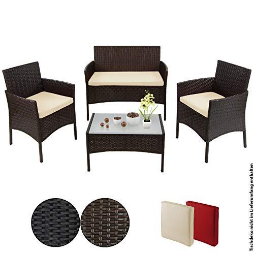 BB Sport 7-teilige Polyrattan Sitzgruppe für 4 Personen inkl. Sitzpolster und Tisch, Farbe:Schwarz-Braun meliert/Sandstrand