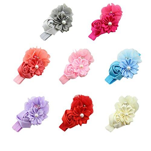 QHGstore Baby Elastische Chiffon Stirnbänder Prinzessin Mädchen Hand Nähen Perlen Blume Neugeborenen Headwear