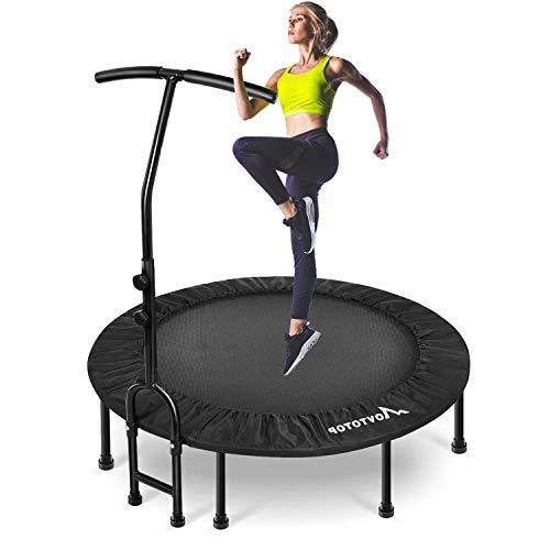 MOVTOTOP Fitness Trampolin mit Haltegriff, Indoor Trampolin für Erwachsene & Kinder, 48 Inch Fitness Trampolin Trampolin für Zuhause