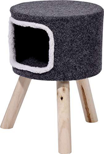 dobar 43105 Katzenhocker für Katzen, Katzenkratzbaum kuschelig mit Höhle, 35x35x50cm, Holz-Beine, grauer Filz
