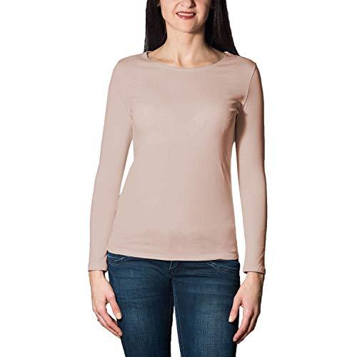 Alkato Damen Langarm Shirt mit O-Ausschnitt, Farbe: Beige, Größe: M