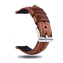 Berfine 20mm Quick Release Retro Leather Watch Band,Vintage Oil-Tanned Pull-up Leather Watch Strap Replacement,Brown