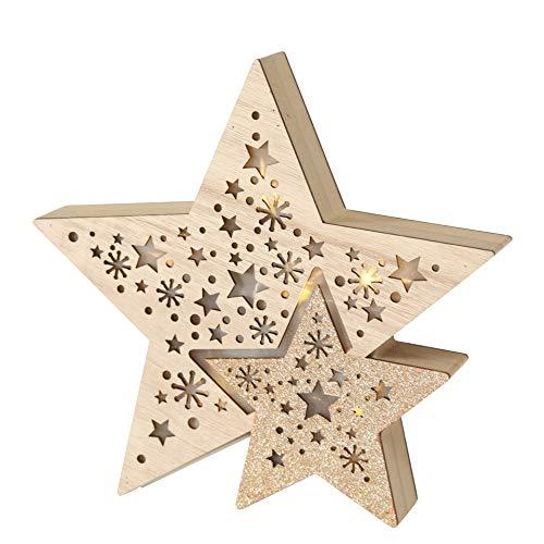 Dekoobjekt HOLZSTERN 24cm Holzsterne beleuchtet Fensterdeko Holz Sterne Weihnachtsdeko Holzdeko Fensterschmuck Weihnachtsbeleuchtung Nr 8381