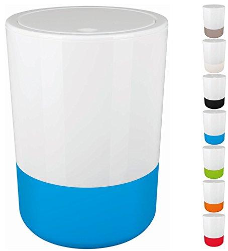 """Spirella Design Kosmetikeimer \""""Moji\"""" Bad Treteimer Schwingdeckeleimer Abfallbehälter mit Schwingdeckel 5 Liter mit Silikonboden Weiß/Blau"""
