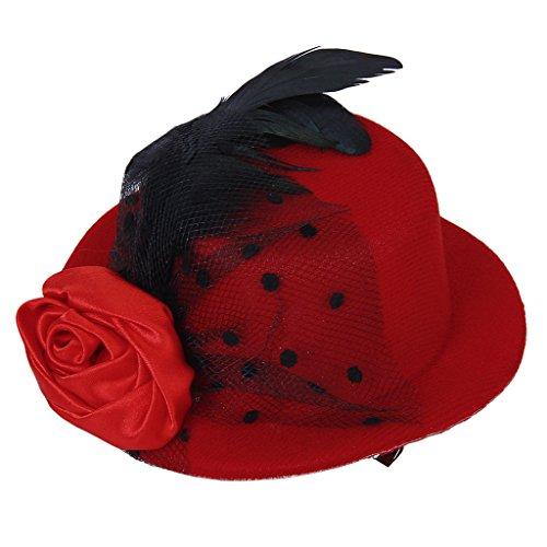 Señoras Hilados Pinza de Pelo Plumas Decoradas Burlesque Punky Sombrero Superior Color Rojo