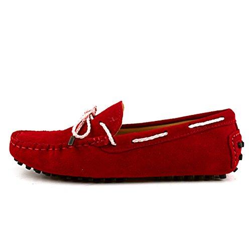 ShenDuo Damen Leder Mokassins mit Binden Casual Slipper Sommer Schuhe D7051 Rot