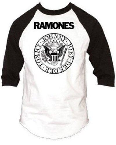 Ramones - Presidential Seal Baseball Raglan T-Shirt Bianco
