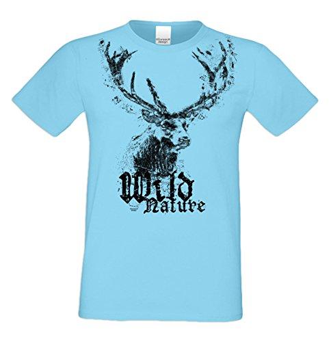 Trachtenshirt : Wild Nature : Herren Trachten T-Shirt : Hirsch Motiv Oktoberfest Volksfest Outfit für Männer : Übergrößen bis 5XL Farbe: hellblau Gr: XL