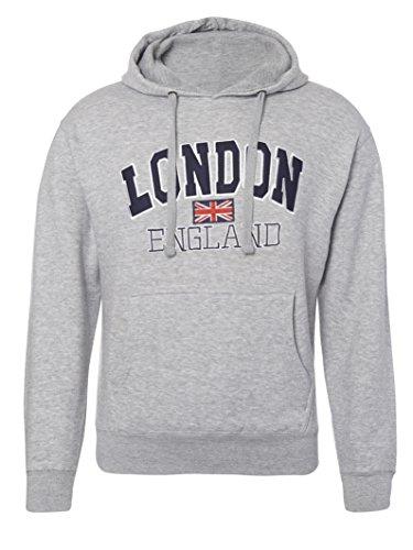 London England–Qualität bestickt an, Sweatshirt mit Kapuze–Unisex Gr. L, Grau - - London England