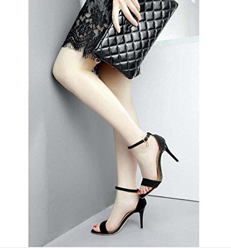 Offener Zeh Block Ferse Stilett Wildleder High Heel Fesselriemen OL Sandale für Frauen Black