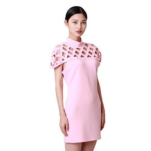 CHIC-CHIC-Chemisier Femme Dentelle T-shirt Bustier Manches Courtes Mousseline de Soie Épaules Nus Crochet Top Blouse Rose
