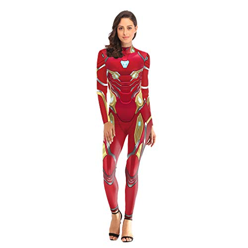 nfinity War, Iron Man Kostüm, Anime Avengers: Endgame Iron Man Tights Cosplay 3D Jumpsuit für Damen,Iron Man-L ()