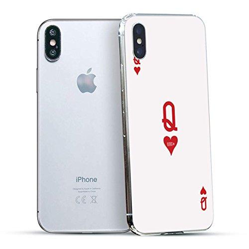 finoo | Iphone X Hard Case Handy-Hülle mit Motiv | dünne stoßfeste Schutz-Cover Tasche in Premium Qualität | Premium Case für Dein Smartphone| Kaugummi Pink Queen Karte