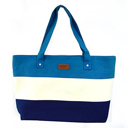 La haute da donna a righe tela borsetta Three-color cuciture borsa a tracolla, Blue (blu) - LHTE-301 Blue