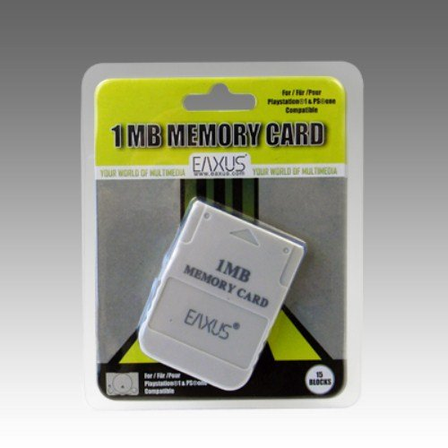 Eaxus®️ PS1 PSX PSOne Memory Card Speicherkarte 1 MB Weiß für Playstation 1 auch in Playstation 2 verwendbar (Card Memory 1 Ps)