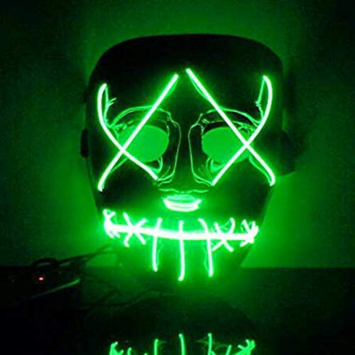 (Urmagic LED Maske 3 Einstellbare Blitzmodi Horror Halloween Maske Cosplay Fasching Halloween Kostüm)