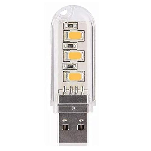 Zhuhaimei,3 LED Mini Portable USB LED Nachtlicht Powered Camping Lampe(Color:WARMWEISS)
