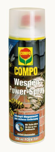 COMPO Wespen Power-Spray, Insektizid gegen Wespennester der Deutschen und Gemeinen Wespe, 500 ml