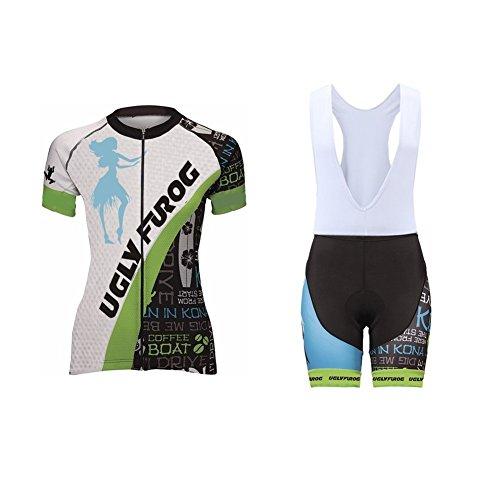 UGLYFROG #06 Neue kurze Ärmel Sommer Fahrradtrikot Langarm Shirt+Trägerhosen Anzüge with Gel Pad Damen Breathable Radfahren Clothes