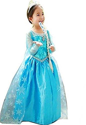 aus Frozen Disney Hell-Blau Mädchen Costume 4-10 Jahre (Elsa Kostüme Frozen Disney)