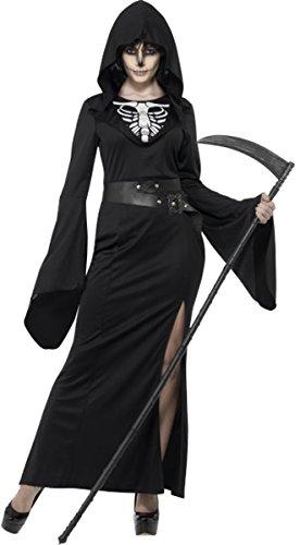 Damen Fancy Scary Halloween-Partys Komplettes Outfit Lady Reaper Kostüm Gr. UK Kleid 50-52, (Scary Kostüme Halloween Lady)