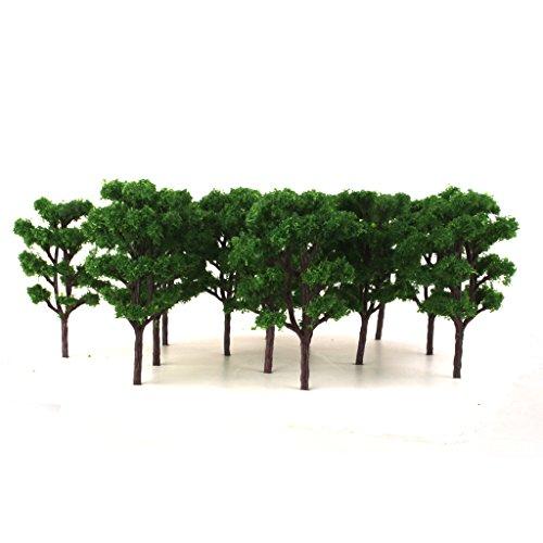 20pcs 1:150 Modelleisenbahn Landschaftsbau Bombax Modellbäume Dunkel Grün