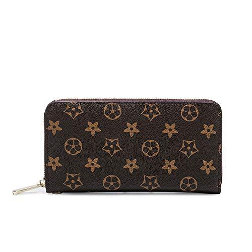 Ldyia Print Lange Brieftasche lässige Mode Clutch Bag einfache Wilde große Rechnung Geldscheinklammer Karte Paket Unisex, braun