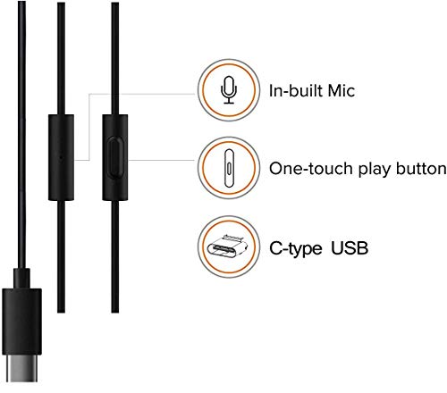 FASHIONISTA Wired Type C Earphone with mic and High Bass Stereo Sound Compatible for Type C MI and Other Type C Smartphones (One Plus 7pro/7/6T) - Black Image 4