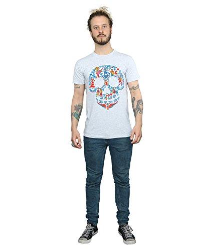 Disney Herren Coco Skull Pattern T-Shirt Sport Grey