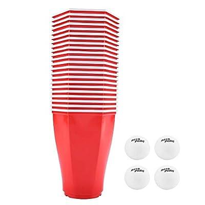 TOPINCN Bière Pong Set 22PCS Rouge Tasses Jeu Plastique Hexagonal avec 4PCS Balles Ping-Pong Bar Pub Réunissant Partie Fournitures Jeu Potable 16 oz