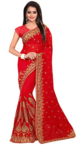Designer Indian Georegtte brodé Sari avec Blouse décousus Saree