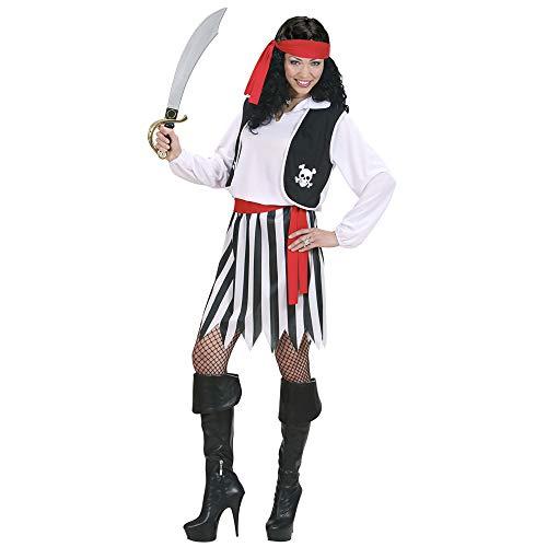 Widmann 02763 - Erwachsenenkostüm Piratin, Hemd mit Weste, Rock, Gürtel und Kopftuch, Größe L