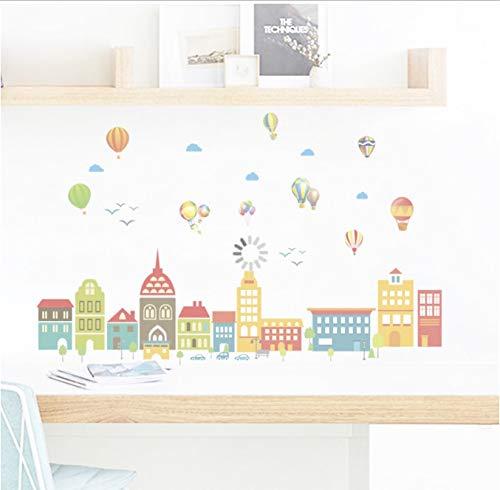 hfwh Wand-Aufkleber Cartoon Castle Ballon Stadt Haus Aufkleber Für Kinder Zimmer Kinder Schlafzimmer Wand Kunst Geburtstag Party Dekor 75x125cm