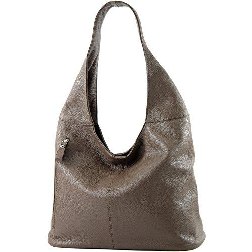 modamoda de - ital. Ledertasche Umhängetasche Schultertasche Damentasche Echtleder T166, Präzise Farbe:T166 Graubraun (Handtasche Leder Italienische)