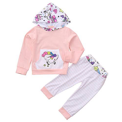 (Kobay Baby Born Kleidung Set Baby Jungen Mädchen Mit Kapuze Cartoon Pferd Print Tops + Gestreifte Hose Outfits(6-12M,Rosa))