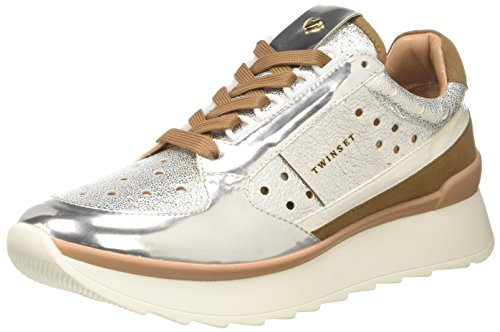 Twin Set Cs8Pkc, Sneaker Donna, Argento, 39 EU