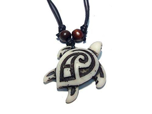 Schildkröte Tribal Weiß Anhänger Halskette–Hawaiian Turtle Halskette–Holz Perlen mit Schwarz Kordel verstellbar von Nove Jewelry Leder (Fisch Rebel)