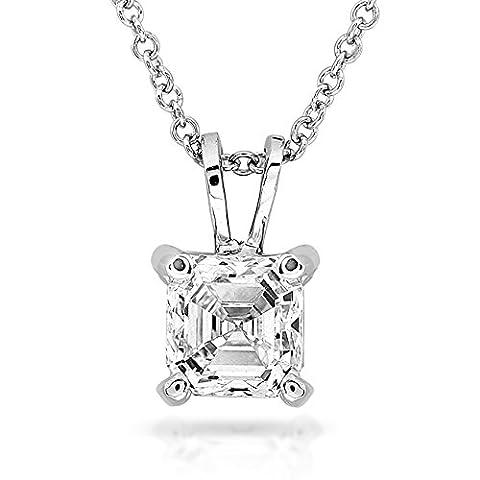 Diamant Solitaire Anhänger 3/8Karat Asscherschliff in 14K Weiß Gold