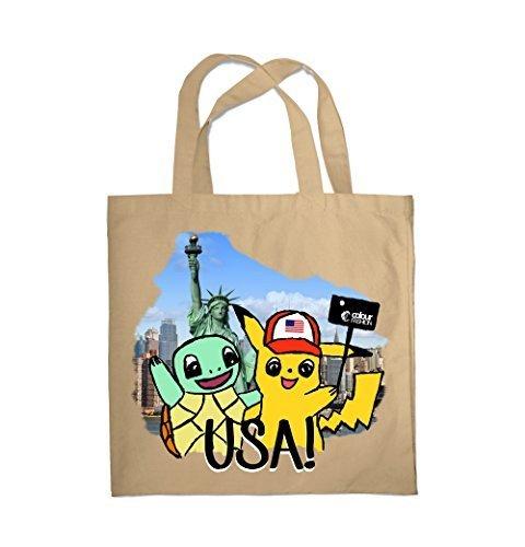 Colour Fashion Pokemons in USA Einkauf Fitnessstudio Strandtasche 0049 - Natürlich - Usa Natürliche