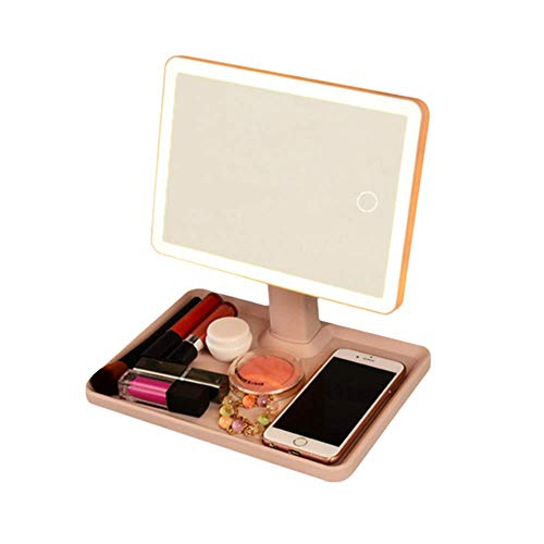 Xnrong Led-Make-up-Spiegel mit Lampe Desktop Fill Light Multifunktionshebel Storage Dressing Beauty Make-up-Spiegel Makeup Beleuchtung Werkzeuge