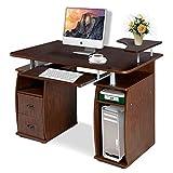 COSTWAY Computertisch Schreibtisch Bürotisch Arbeitstisch PC-Tisch mit Tastaturauszug Druckerablage Schubladen Farbwahl (Walnuss)