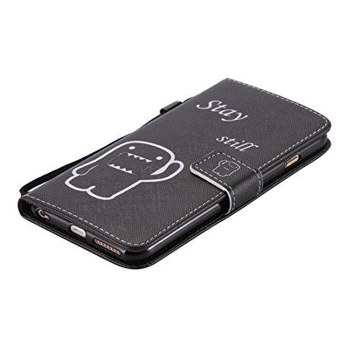 Ekakashop Apple iPhone 6 Plus/6s Plus 5,5 Zoll Hülle (Weiß), iPhone 6s Plus Tasche mit Taljereep, Zeichnung Drucken Katzen und Baum Muster Bunte PU Leder Schutzhülle Tasche Hüllen Magnetverschluss Han schwarz
