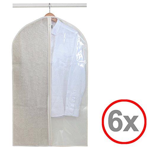 Kleidersack Kleiderhülle Anzugsack Anzug Schutzhülle, transparent, lang oder kurz - Aufbewahrung von Kleidern, Anzügen, Hemden, etc. (6er, 60 x 100 cm) (Hanger T-shirt)
