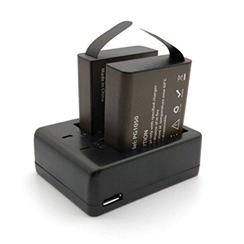 Compatible con SJ4000, SJ5000, SJ5000+, SJ6000, SJ7000, SJ8000, SJ9000, H9, H9R, H3R, H8, H8R, etc.    Especificaciones: Color principal: negro. Batería: 2 baterías PG1050, 3,7 V, 1050 mAh. Tamaño del paquete: 8 x 6 x 4 cm. Peso del paquete: 85 g....