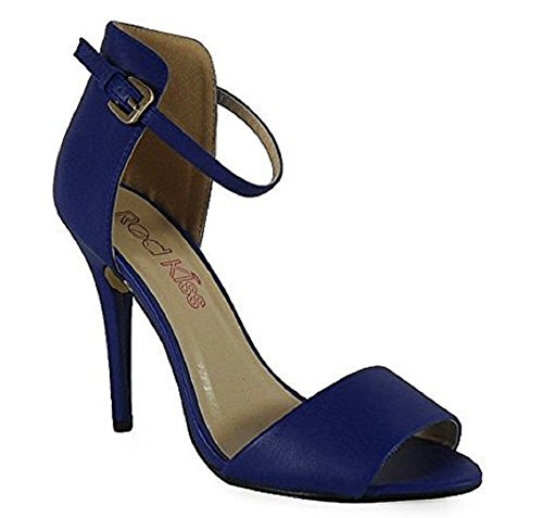 Ladies High Stiletto Heel Open Toe Back Ankle Strap Faux Suede Sandals Shoes 3-8 Cobalt Blue Leather
