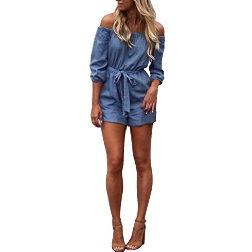 Price comparison product image Women Jumpsuit,  Womens Off Shoulder Mini Playsuit Ladies Summer Shorts Jumpsuit (L,  Blue)